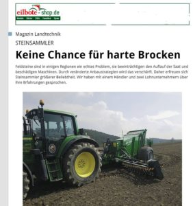 Bericht Eilbote - Kivi Pekka Pel-Tuote - Müller Siblingen GmbH - Landtechnik Müller - Steinsammler Schweiz